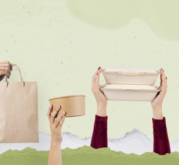 Eco-friendly food packaging delivery concept remix